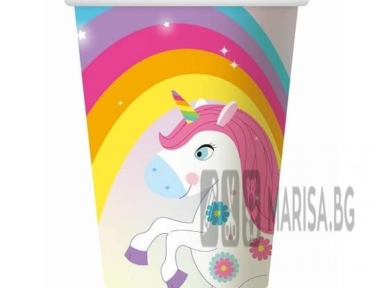 Парти чаши Rainbow Unicorn, 6 броя, с еднорог